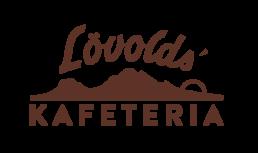 Logo for Løvolds Kafeteria i Bodø. Midnattsol bak fjell med Lövolds' over og Kafeteria under.